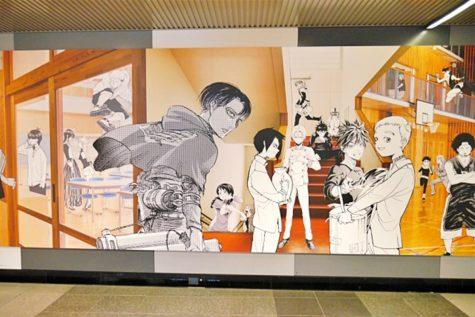 bức tường anime tại ga shibuya thủ đô tokyo levi attack on titan