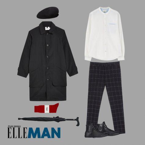cách phối đồ những ngày mưa áo khoác dáng dài áo sơ mi cổ trụ quần trắng quần kẻ ô cây dù đen giày rubber