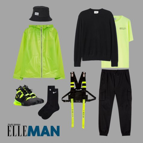 cách phối đồ những ngày mưa áo thun ao khoác màu xanh neon sweater quan jogger màu đen chest rig neon