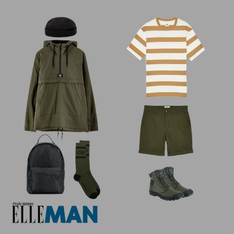 cách phối đồ những ngày mưa áo thun kẻ sọc trắng nâu áo khoác quàn đùi giày cổ cao màu xanh quân đội