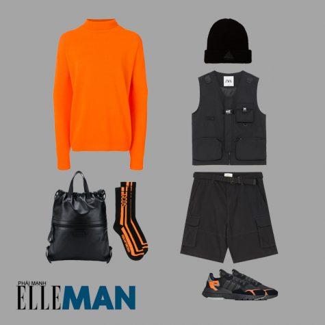 cách phối đồ những ngày mưa áo sweater màu cam neon gilet quần đùi đen addidas nite jogger