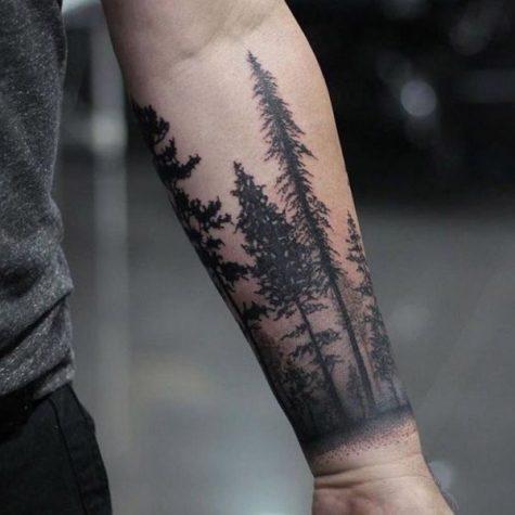 hình xăm cánh tay rừng cây thông
