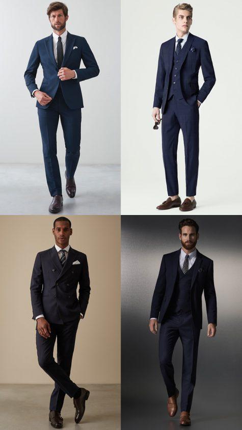 các quý ông lịch lãm với suit xanh và giày nâu