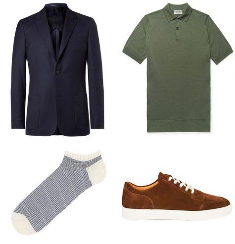 cách phối suit xanh navy cho ngày thứ sáu thoải mái