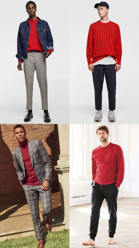 quý ông mặc áo đan đỏ