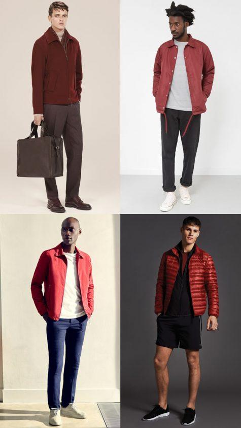 quý ông mặc áo khoác ngoài đỏ