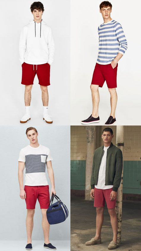 quý ông mặc quần shorts đỏ