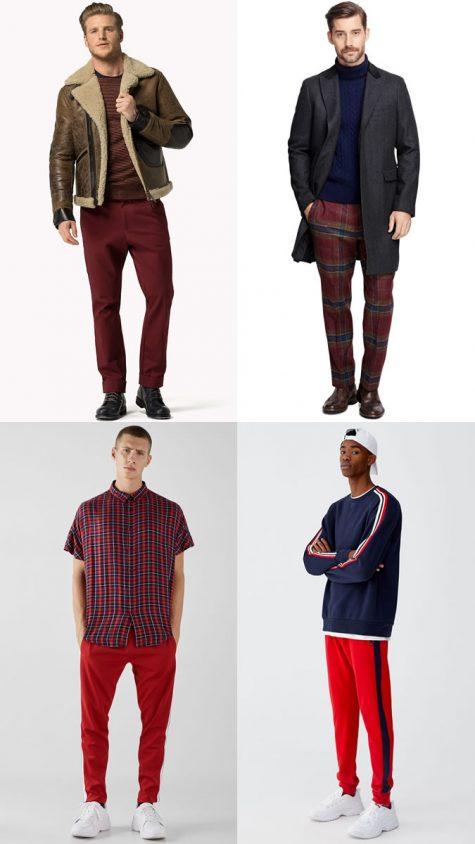 quý ông mặc quần trousers đỏ