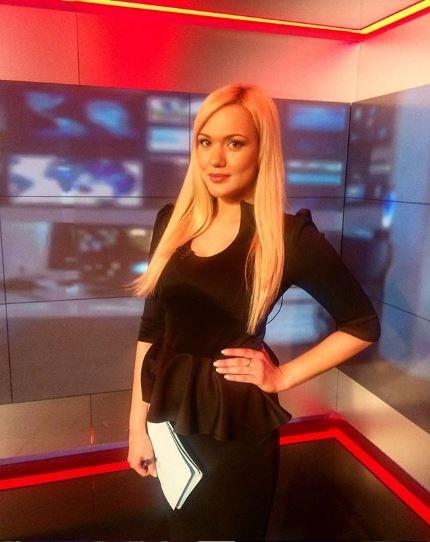 nữ phóng viên thể thao Valeria Gavrilovskaya tại đài truyền hình NTV