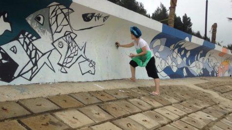 họa sĩ vẽ tranh trên tường biển Linh Trường