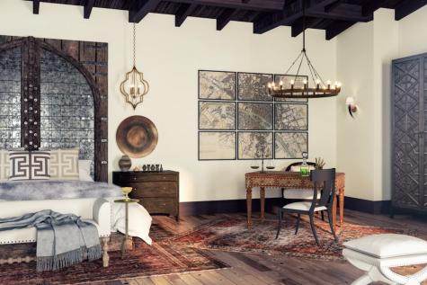 Thiết kế nội thất nhà Lannister trò chơi vương quyền phòng ngủ thảm lót sàn ghé giường bằng gõ