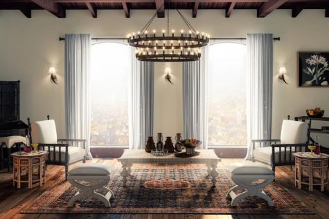 Thiết kế nội thất nhà Lannister trò chơi vương quyền phòng khách thảm lót sàn đèn trên