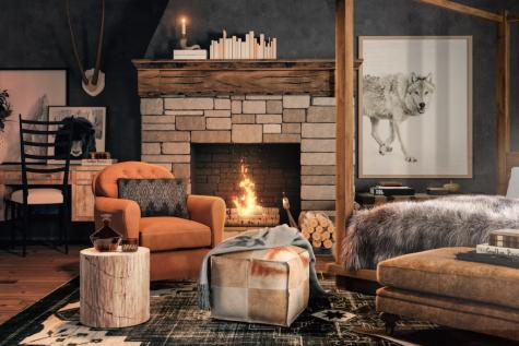 Thiết kế nội thất nhà Stark trò chơi vương quyền phòng khách thảm lót sàn và lò cưởi