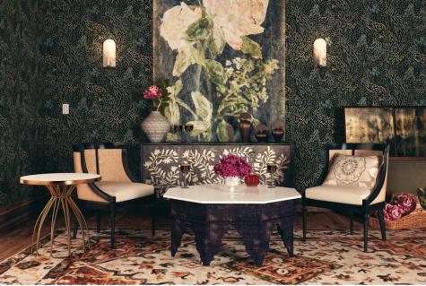 Thiết kế nội thất nhà Tyrell trò chơi vương quyền phòng khách thảm lót sàn hoạ tiết thiên nhiên