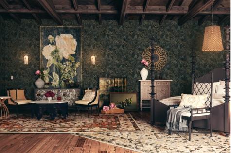 Thiết kế nội thất nhà Tyrell trò chơi vương quyền phòng ngủ thảm lót sàn hoạ tiết thiên nhiên