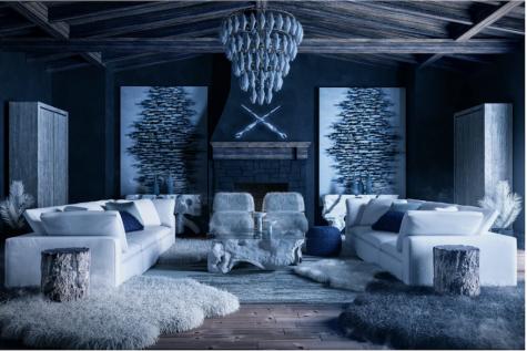 Thiết kế nội thất lấy cảm hứng từ white walker của trò chơi vương quyền phòng khách tông xanh và trắng