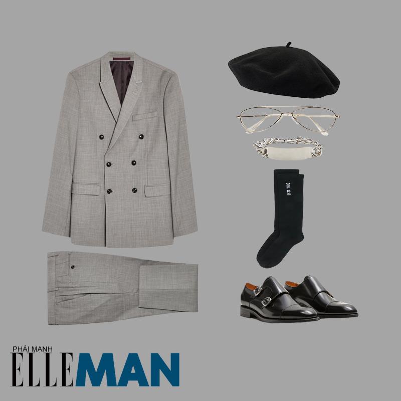 phoi do minimalism ao vest xam giay da mu beret