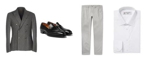 áo blazer nam-kết hợp áo blazer xám và quần chinos