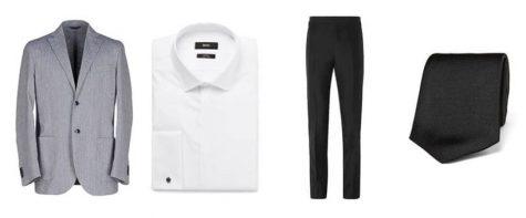 áo blazer nam-kết hợp áo blazer xám và quần đen