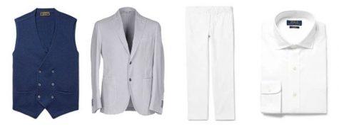 áo blazer nam-kết hợp áo blazer xám và quần trắng