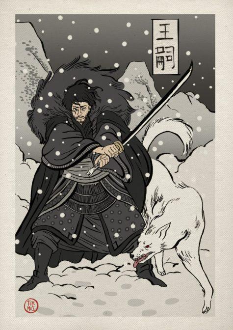 Jon Snow trong phim trò chơi vương quyền theo phong cách nhật