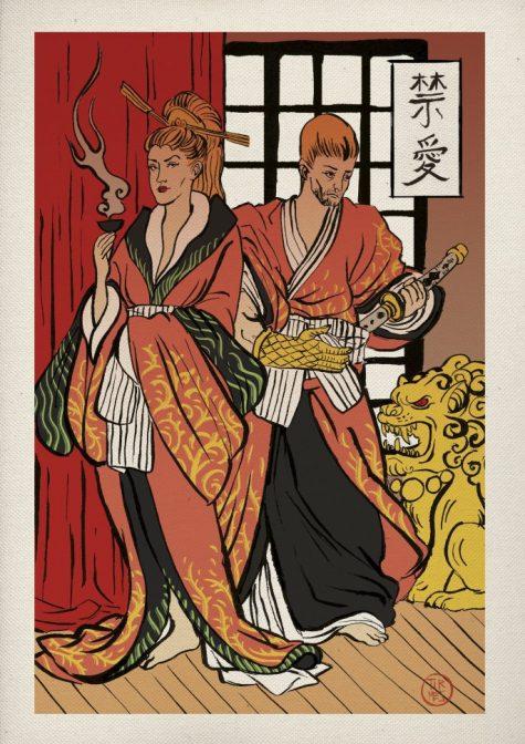 cersei và jamie lannister trong phim trò chơi vương quyền theo phong cách nhật