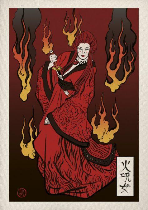 phù thuỷ đỏ trong phim trò chơi vương quyền theo phong cách nhật