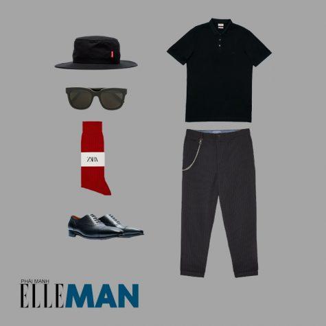 Style Canlendar Áo polo nam đen tất đỏ 8