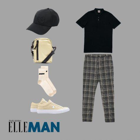 Style Canlendar Áo polo nam đen quần sọc giày beige 1