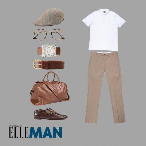 Style Canlendar Áo polo nam trắng túi và giày da 2
