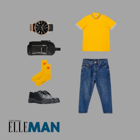 Style Canlendar Áo polo nam vàng quần jean denim 3
