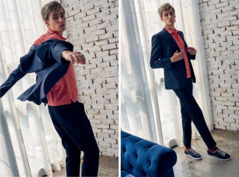 áo polo nam màu living coral của Gio Bernini và suit màu navy