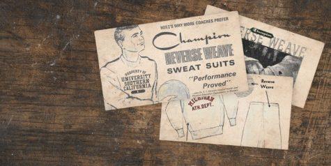 logo thương hiệu champion và sản phẩm áo sweater đầu tiên