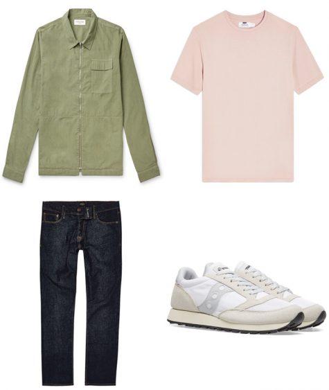phối màu trang phục - phối trang phục màu xanh lá cây và hồng