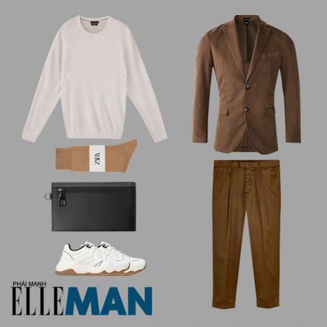 phối đồ cho đàn ông gầy áo blazer nâu quần nâu