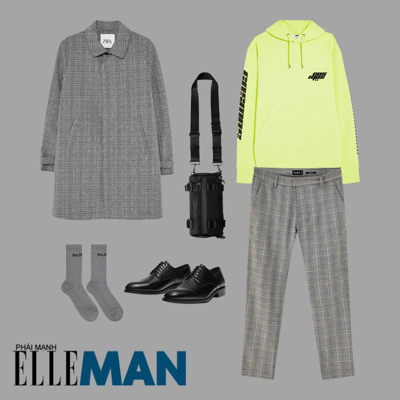phối đồ cho đàn ông gầy áo hoodie neon áo khoác kẻ xám quần xám