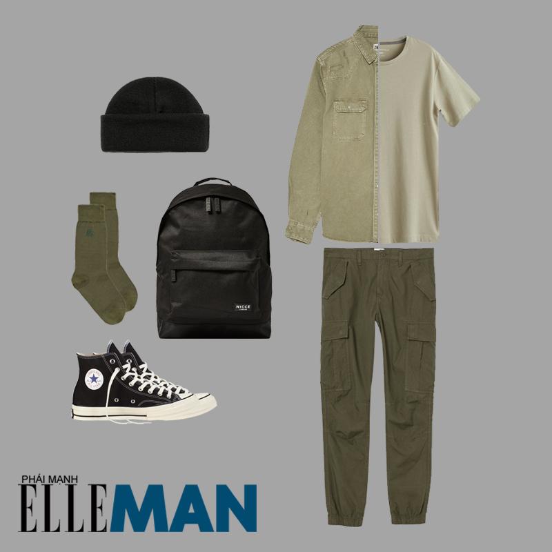 phối đồ cho đàn ông gầy áo xanh quần xanh balo đen