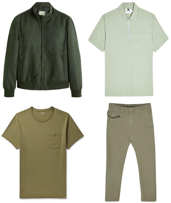 cách phối màu-các trang phục màu xanh lá