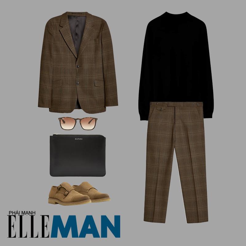 phối đồ cho đàn ông mập áo blazer quần tây kẻ sọc màu nâu