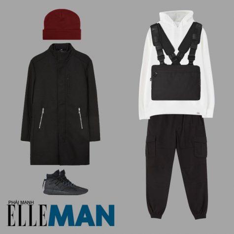 phối đồ cho đàn ông mập hoodie trắng quần jogger đen beanie đỏ