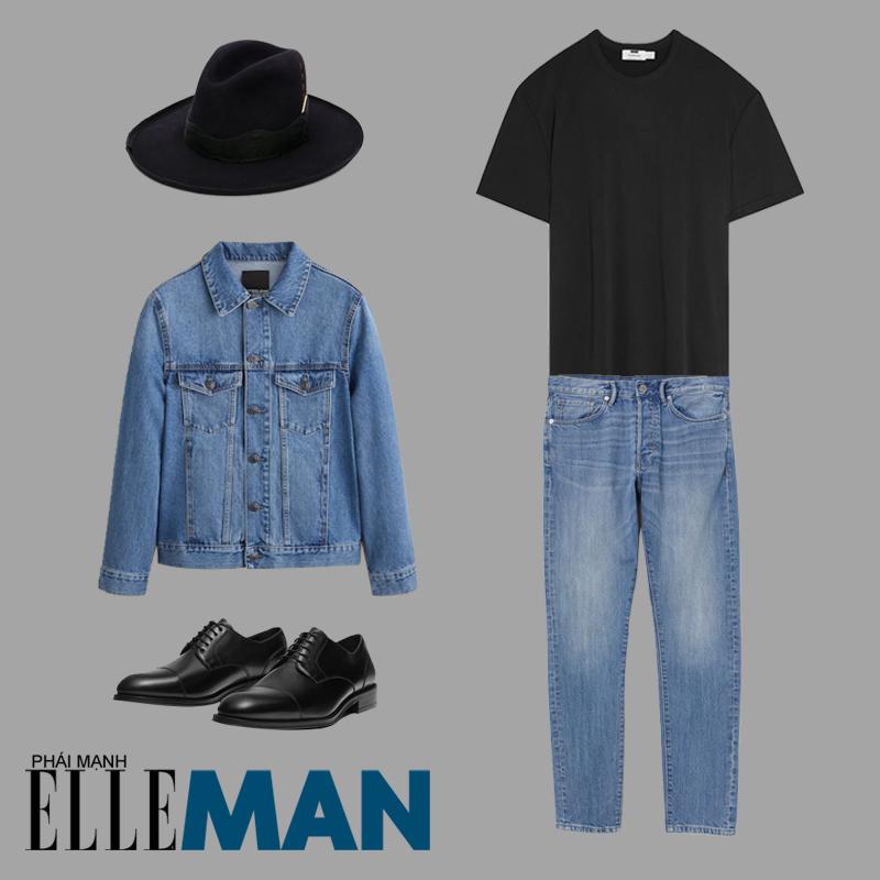phối đồ cho đàn ông mập quần jean áo khoác jean mũ fedora