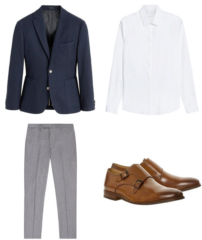 quần tây xám-quần tây xám và áo blazer xanh navy
