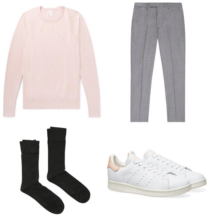 quần tây xám-quần tây xám và áo sweatshirt hồng