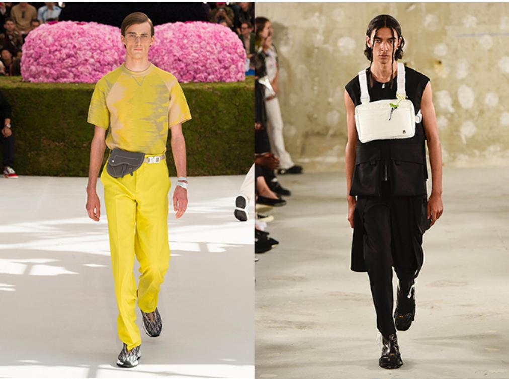 sàn diễn thời trang của dior cùng mầu nam mặc đồ màu vàng và alyx mẫu đeo chest rig mặc đồ màu đen