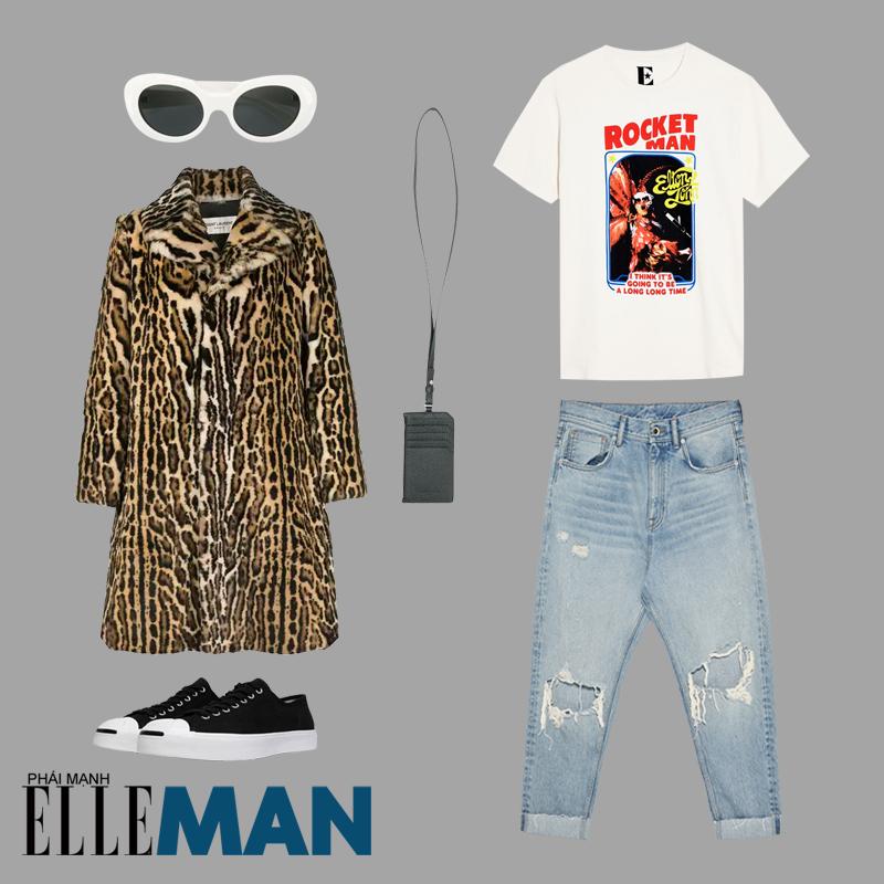 phong cách grunge cho áo khoác da beo áo thun trắng