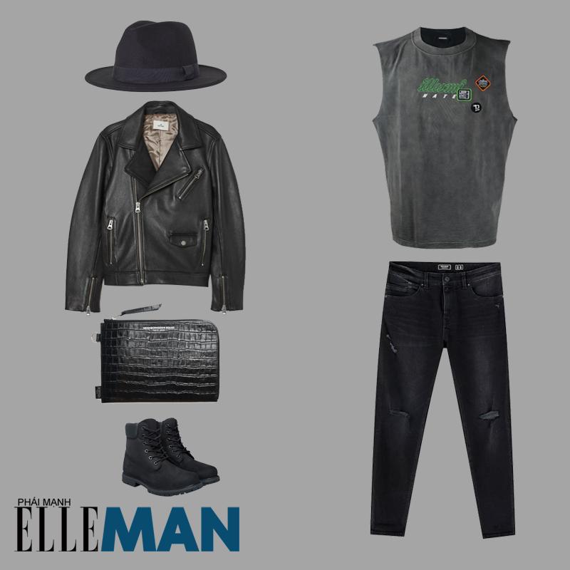 phong cách grunge cho nam áo khoác da áo thun và quần đen