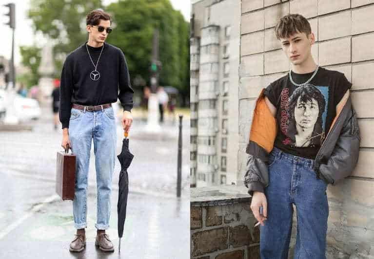 phong cách grunge cho nam mẫu mặc áo đen tay dài quần jean cầm dù