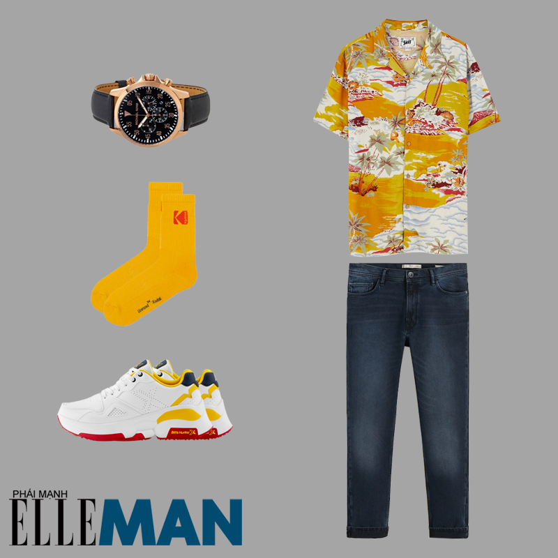 phong cách Sơn Tùng MT-P từ Hãy trao cho anh áo hawaii tất vàng quần denim
