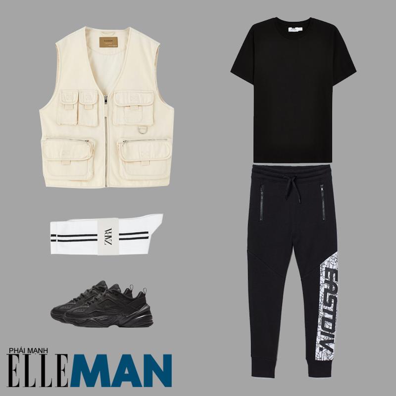 phong cách Sơn Tùng MT-P từ Hãy trao cho anh áo thun đen quần đen tất trắng áo gi lê