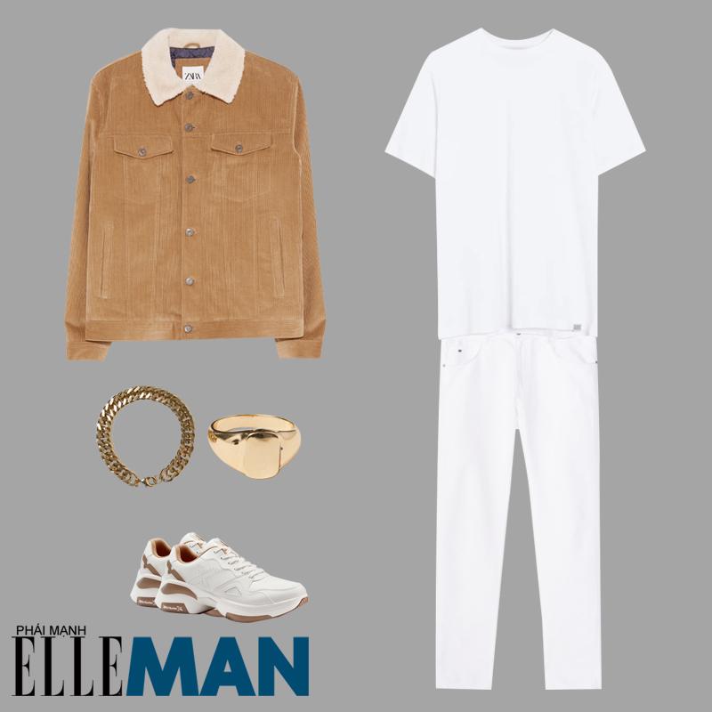 phong cách Sơn Tùng MT-P từ Hãy trao cho anh áo thun trắng quần trắng áo khoác nâu